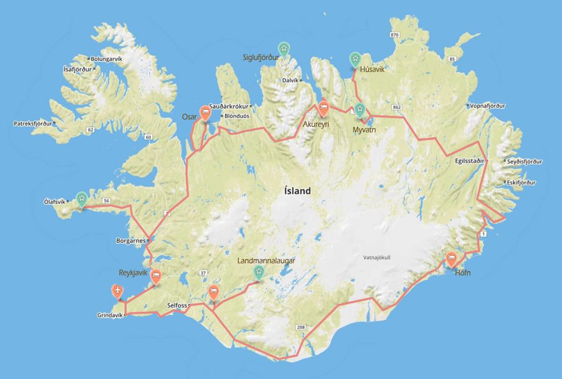 Island-Roadtrip, Kartenübersicht: Route & Orte