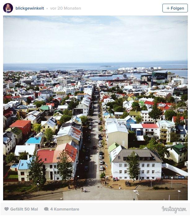 Reykjavik von der Hallgrimska aus gesehen.