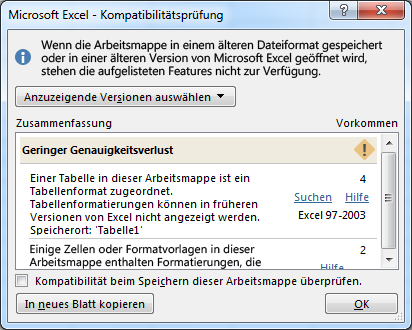 Excel Kompatibilitätsprüfung