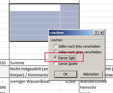 Zeile in Excel löschen