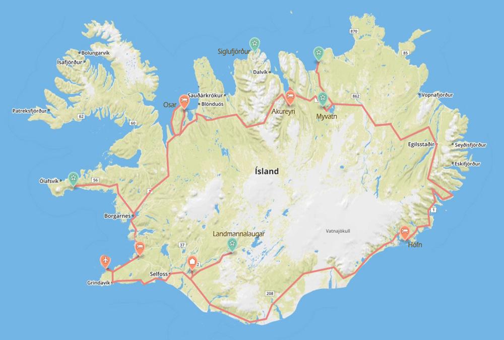 Island-Roadtrip, Karte mit Route