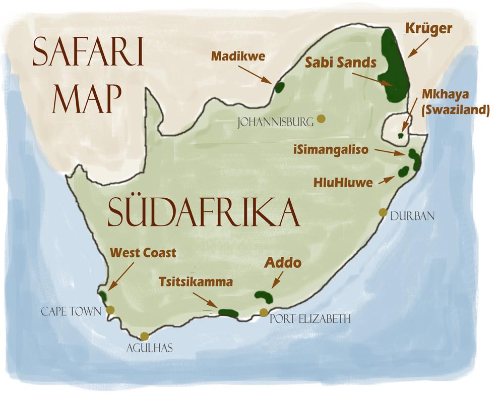 Möglichkeiten einer Safari in Südafrika - Karte