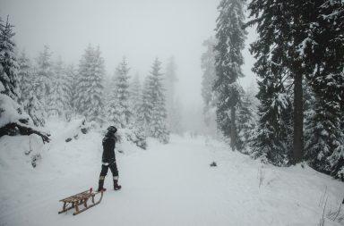 Verschneiter Harz, Kind mit Schlitten