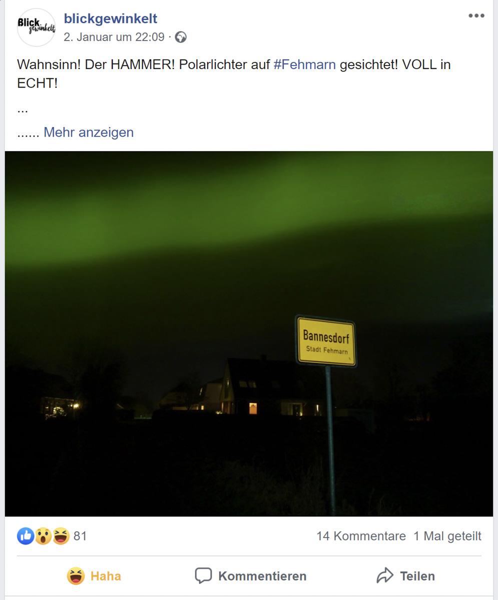 Polarlichter auf Fehmarn?