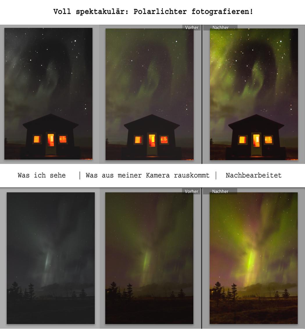 Polarlichter in Island - So sehen sie wirklich aus - Fotocollage
