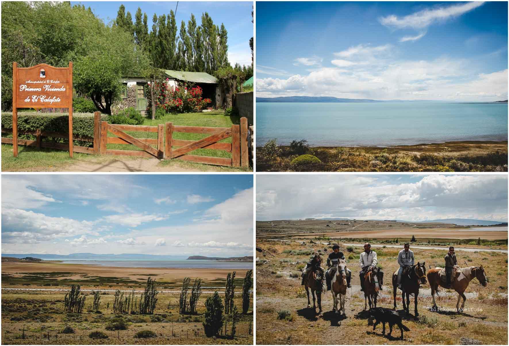 El Calafate in Argentinien: Gletscherfarbener Lago Argentino, die Pampa, ein paar Gauchos.