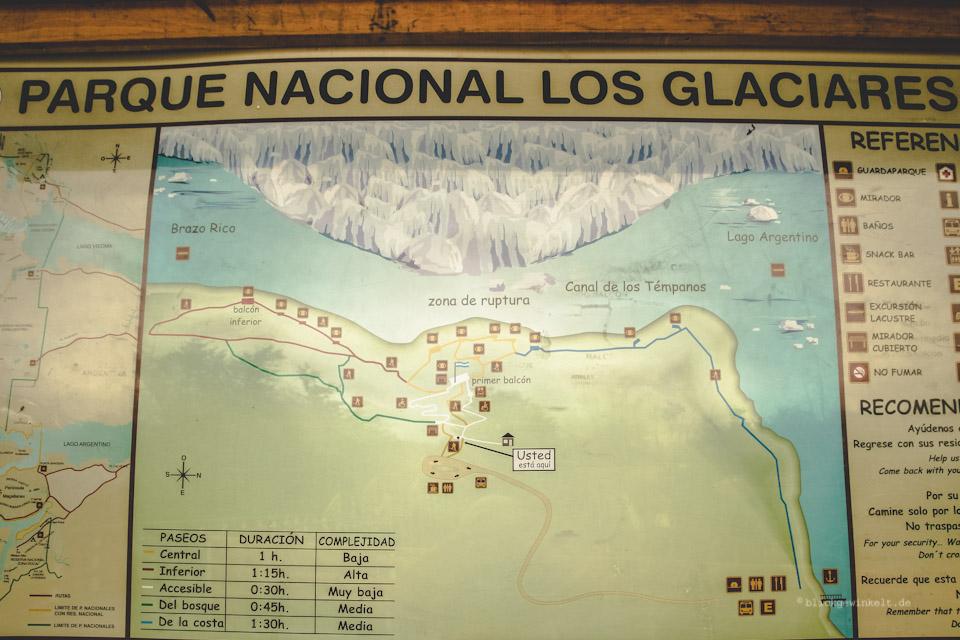 Karte Perito Moreno mit Wanderwegen
