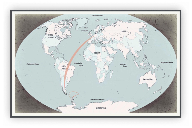 Antarktis Reiseroute 22 Tage Blickgewinkelt