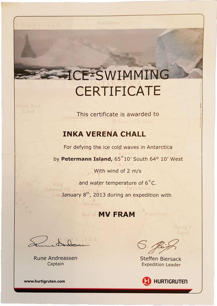 Antarktis Schwimmen Urkunde
