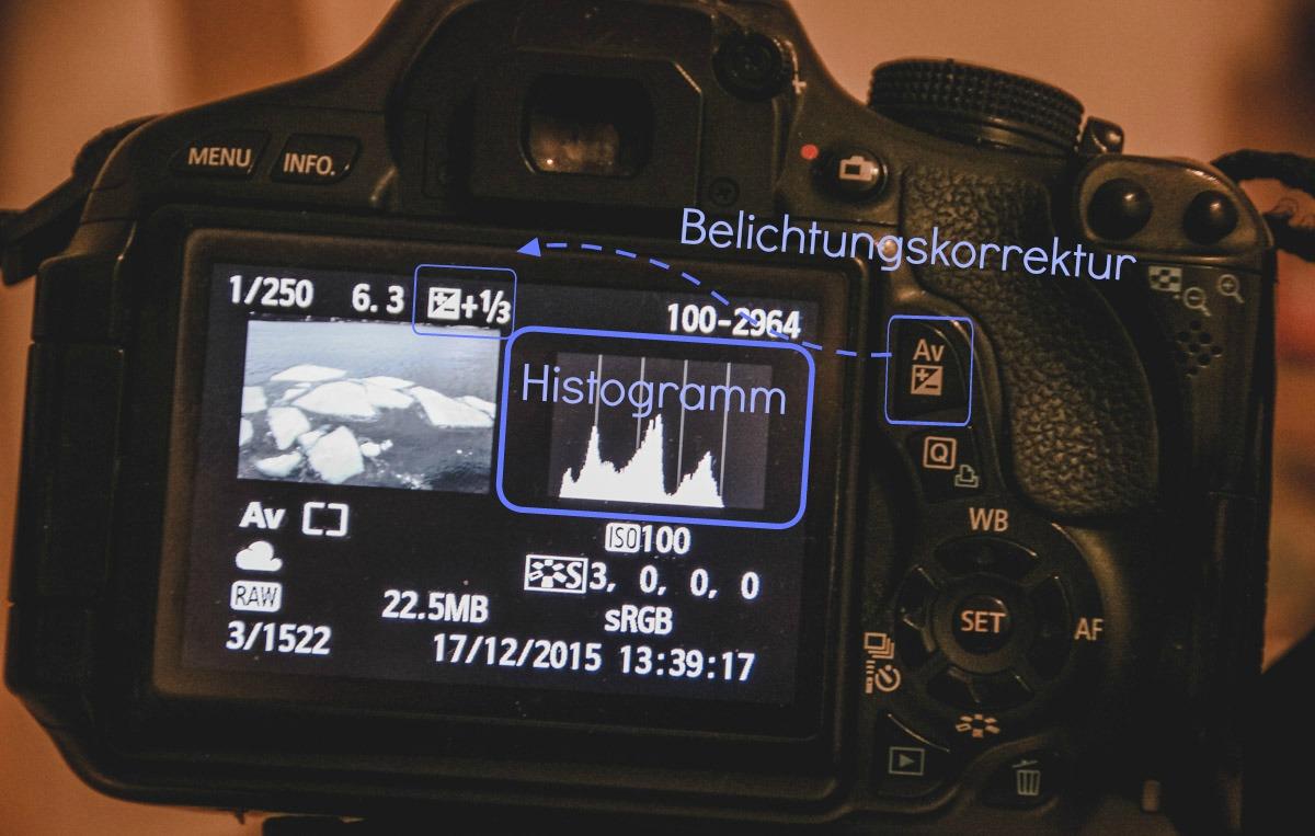 Histogramm und Belichtungskorrektur auf dem Display ablesen
