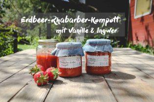 Erdbeer-Rhabarberkompott im Glas