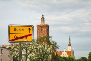 Ortsschild Guben-Gubin