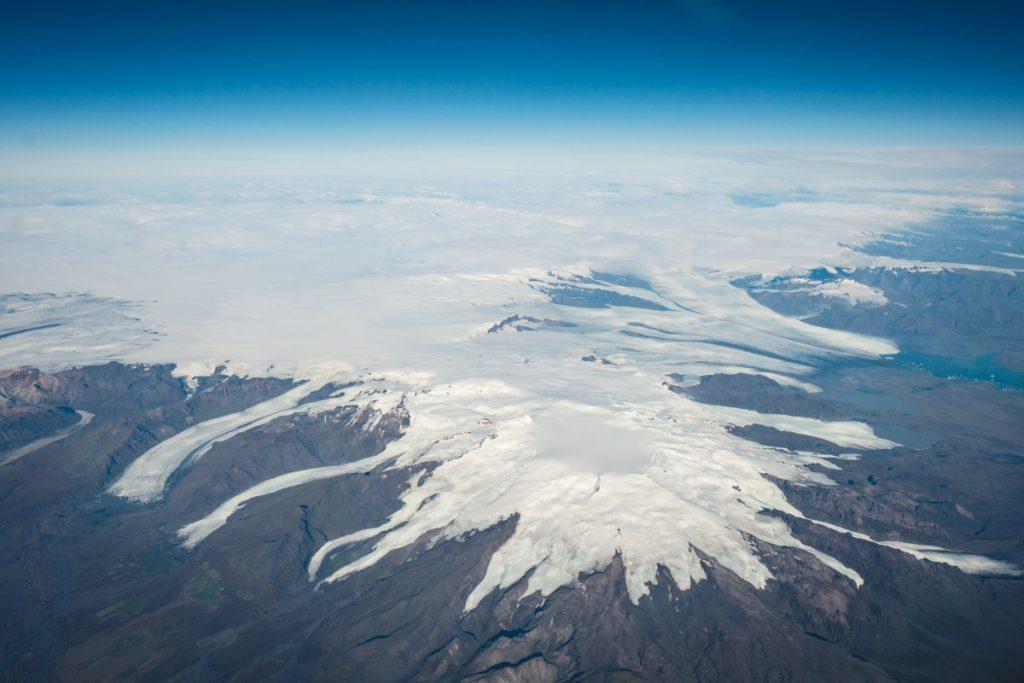 Gletscher von Island aus dem Flugzeug