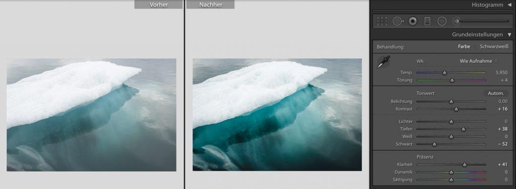 Bearbeitung von Wasserspiegelungen in Adobe Lighroom.