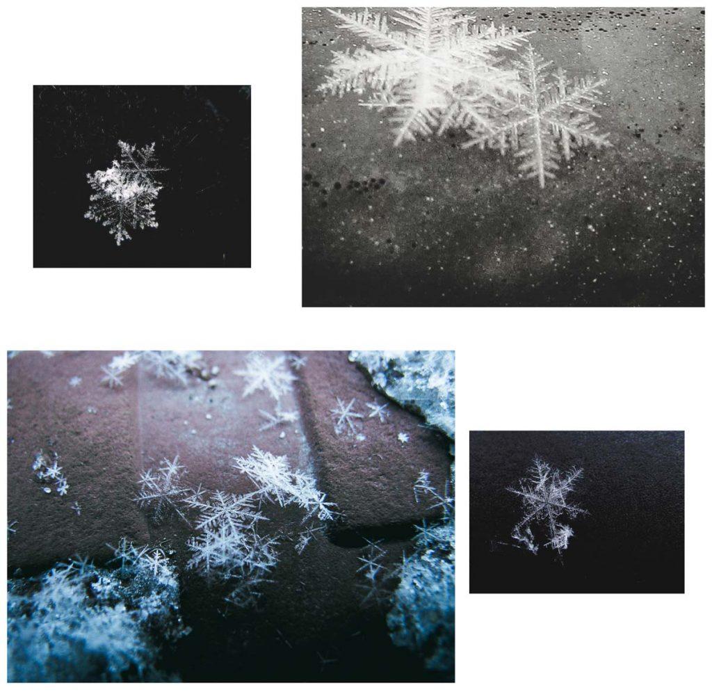 Eiskristalle (Schnee) auf dem Straßenboden