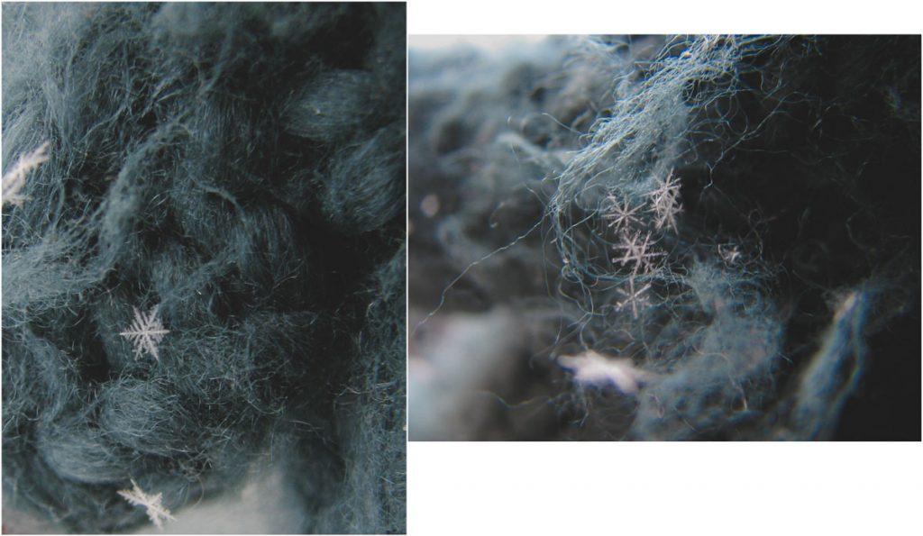 Eiskristalle auf Wolle