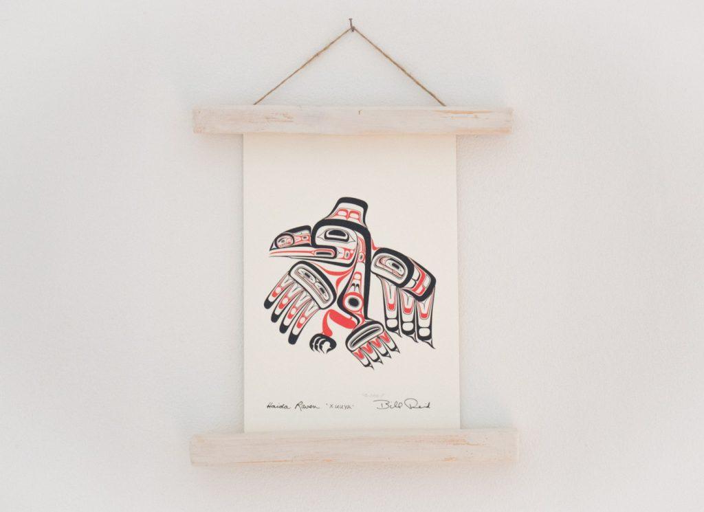 Zeichnung vom Haida Raven von Bill Reid