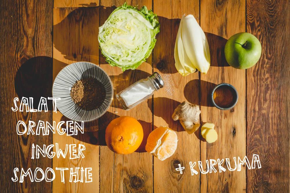 Zutaten für Salat-Orangen-Smoothie