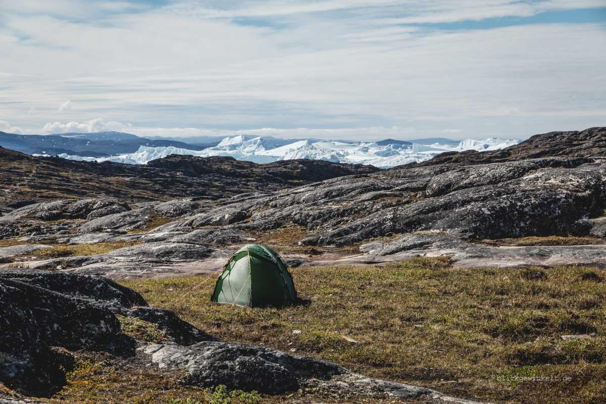 Zelt vor dem Ilulissat Eisfjord