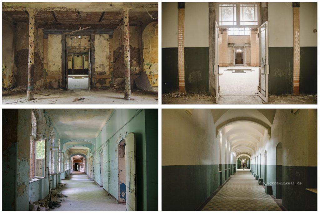 Fotovergleich Badehaus Männersanatorium in den Beelitz-Heilstätten von 2012 und 2017.