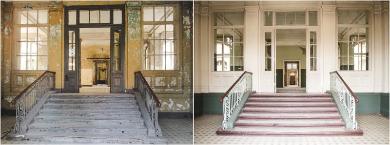 Fotovergleich Badehaus Männersanatorium Beelitz Heilstätten