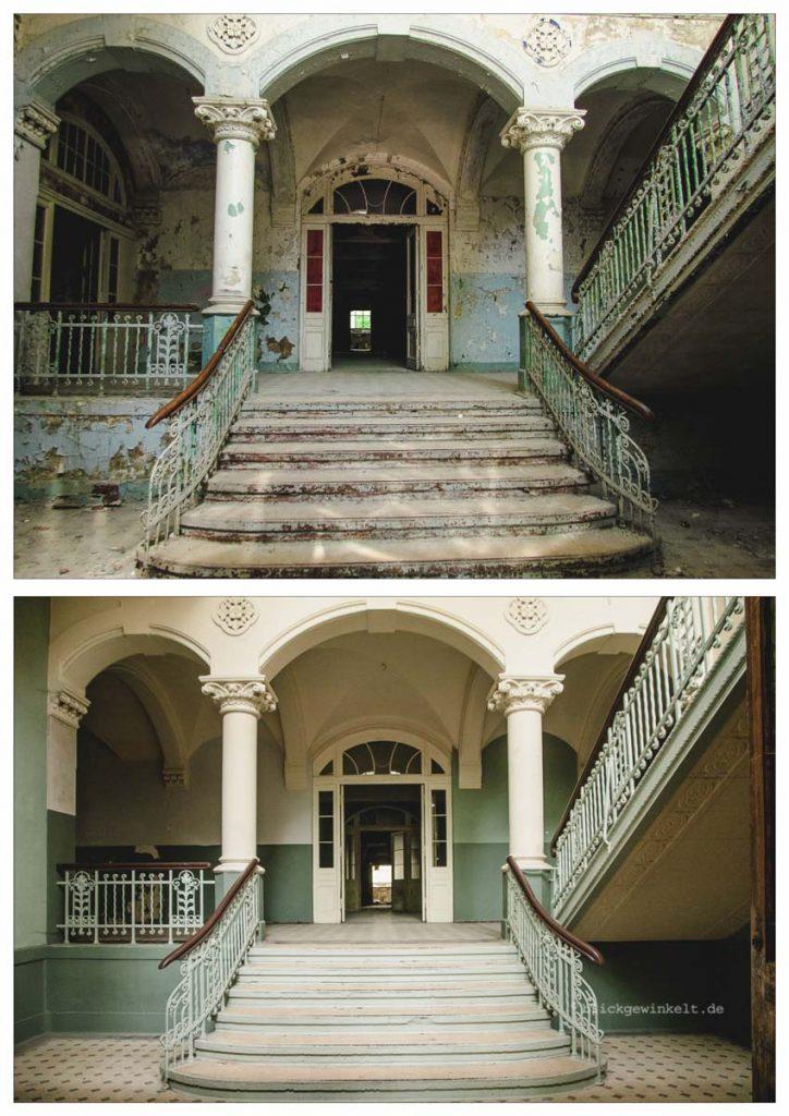 Fotovergleich Eingang zum Männersanatorium der Beelitzer Heilstätten 2012 und 2017