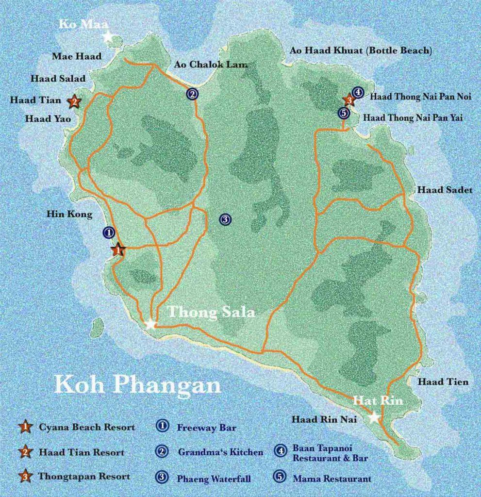 Karte von Koh Phangan, Thailand, mit Stränden, Restaurants und Bungalows