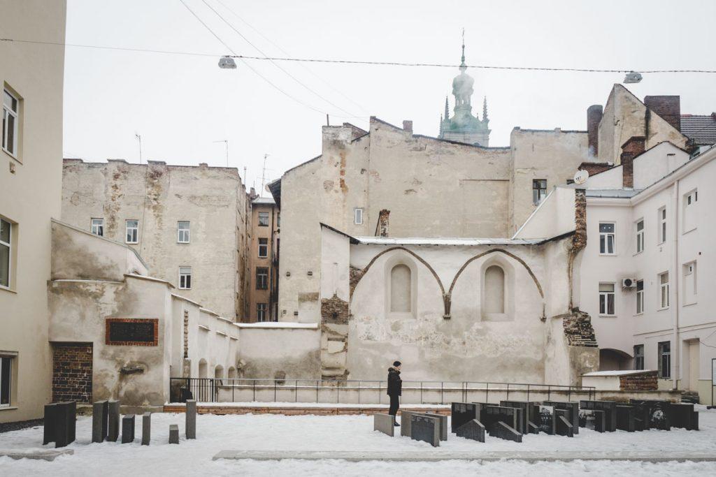 Denkmal an der zerstörten jüdischen Synagoge, Lviv