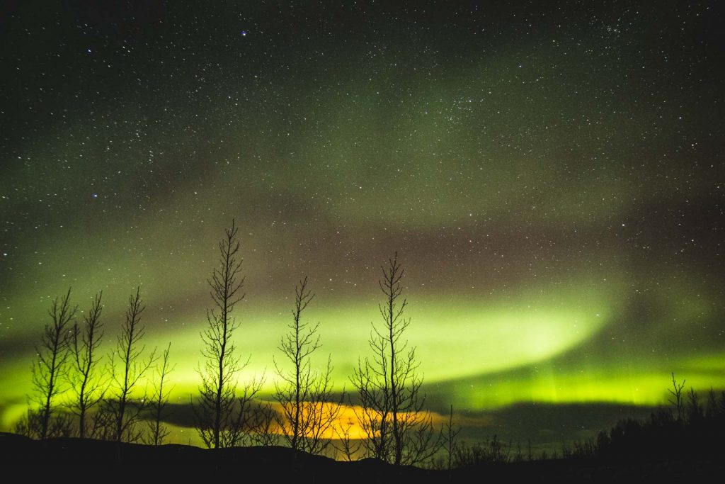 Grün-violette Nordlichter über Island