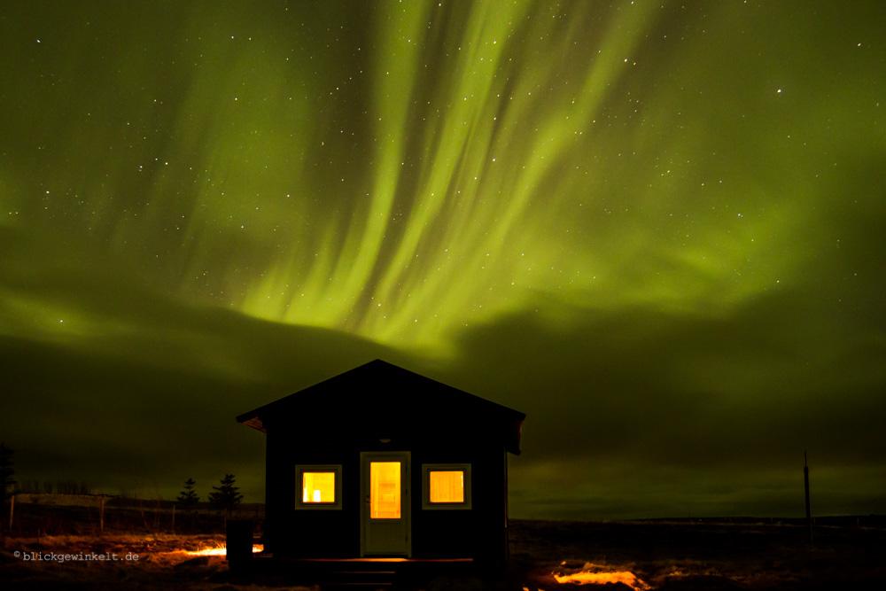 Ferienhütte in Island mit Polarlichtern