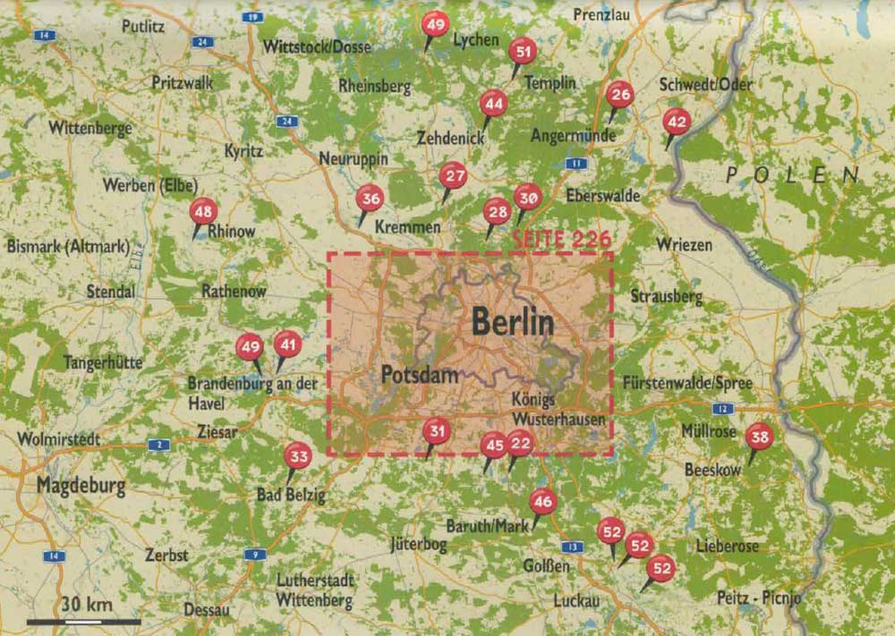 Karte mit Touren in Brandenburg