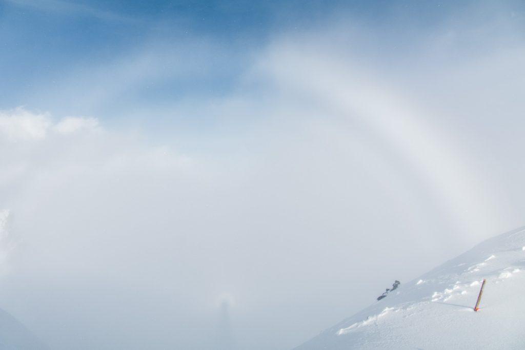 Halo-Erscheinung auf dem Berg