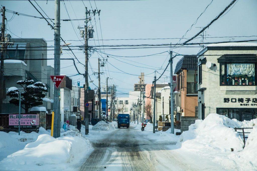 Sapporo, Winter, Straßenansicht