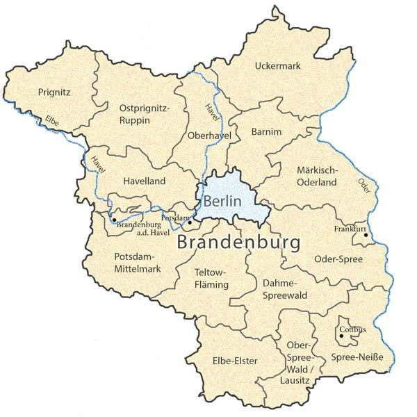 Karte von Brandenburg mit Landkreisen