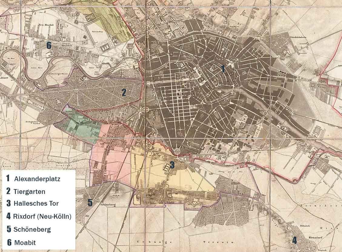 Alte Karte von Berlin um 1861